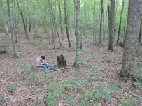Zeb Weese sits quietly as he works to tag and release.