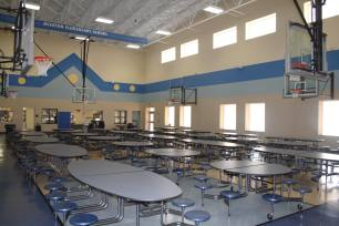 The Alvaton Cafe at Alvaton Elementary shows numerous sources of natural lighting which reduces energy costs.