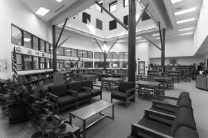 The library at Milton Elementary demonstrates the use if natural light in an effort to save energy and cut costs.