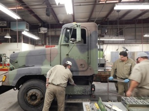 Prepping DOD vehicle.