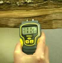 Well-seasoned firewood should have a moisture content below 20 percent. The moisture meter demonstrates that this firewood is dry and ready to burn. Photo By Roberta Burnes.
