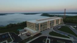 A view of the 300 building with fog from the surrounding areas.