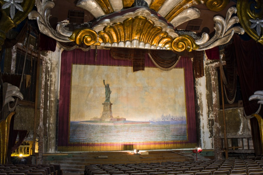 The old curtain in all its glory. Photos Courtesy of Paducah Art House Alliance.