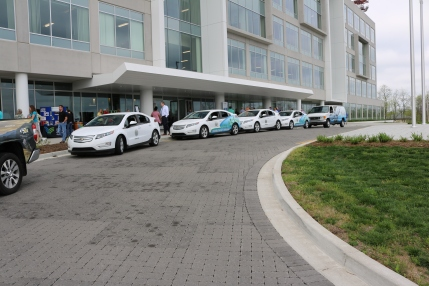 The Cabinet's fleet of electric cars- Chevy Volts.