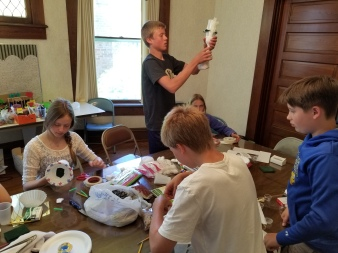 Frankfort Home School students assemble their model air samplers. (2)