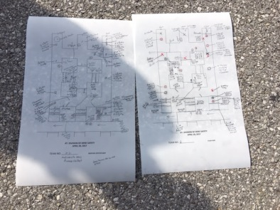 The page on the right with the red squares is the team map and the other one is the FAB Specialist's map. They are graded on how close they are to one another.