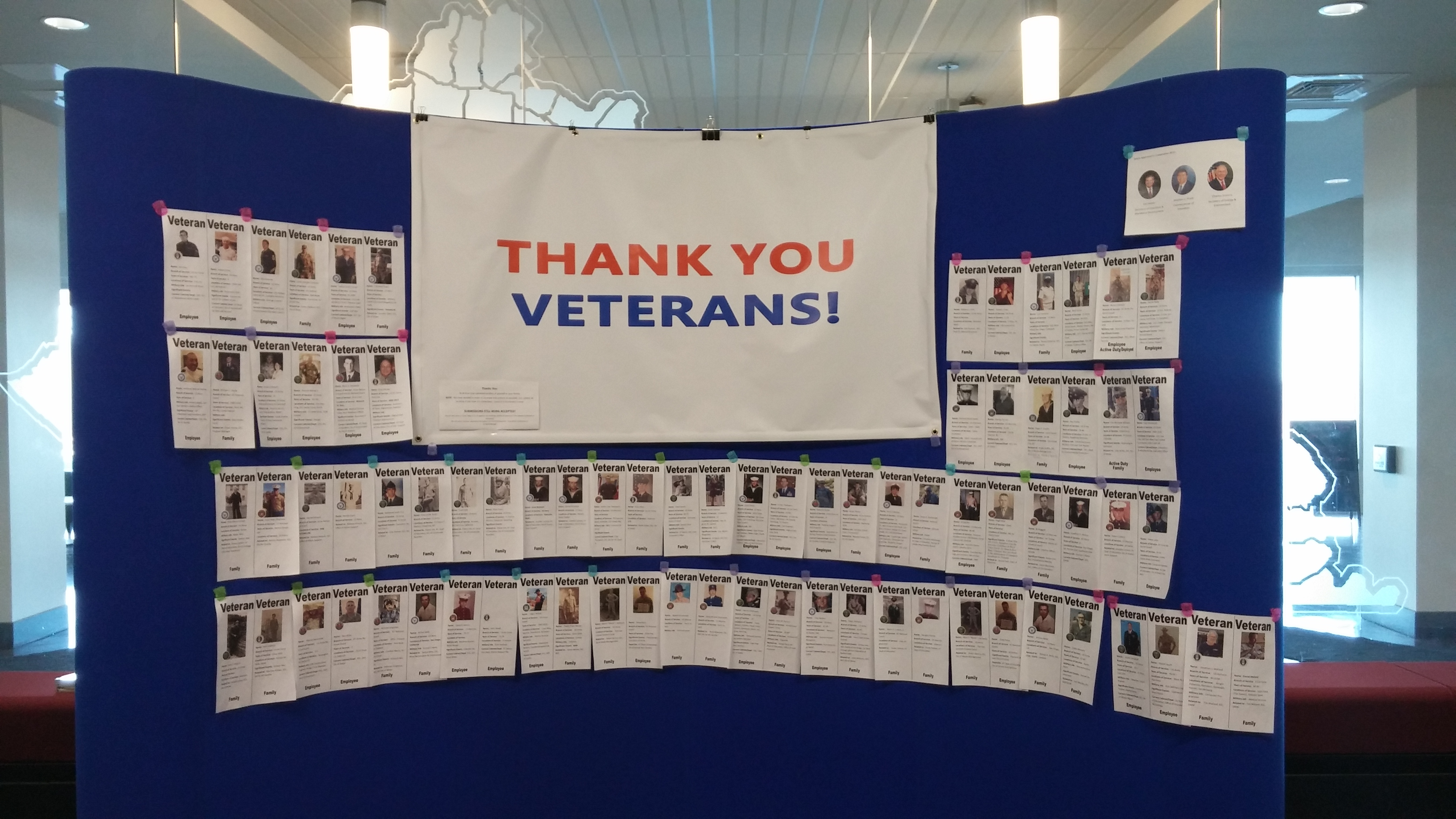Veterans and families honored during November at 300 Sower Building