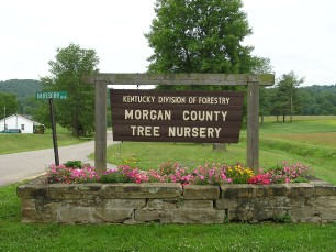Morgan County nursery main entrance sign.