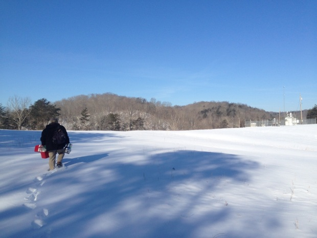 Joe Boggs trudges through the snow. Photo by Jeff Patton.