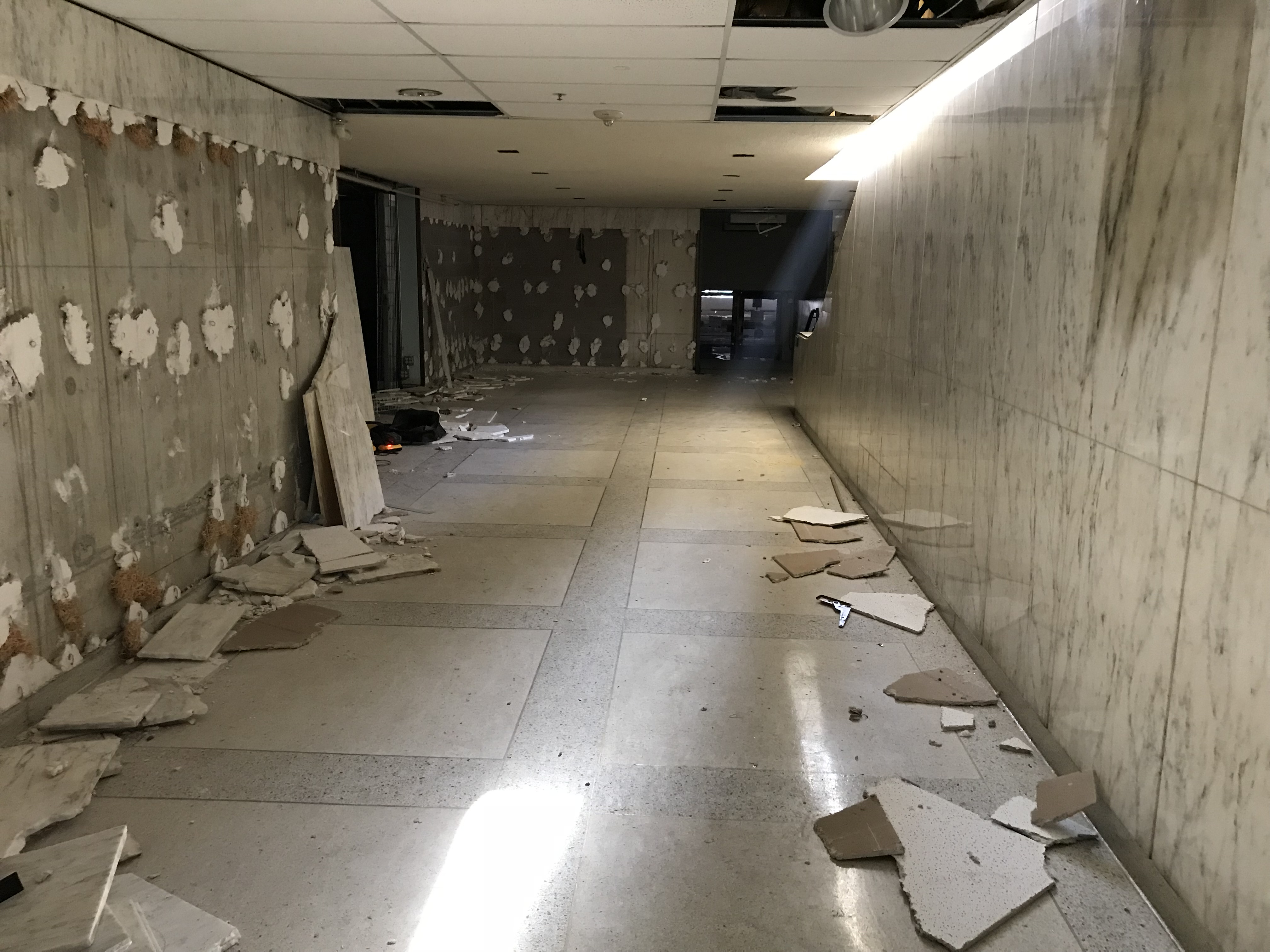 The hallway in the Mezzanine shows the signs of salvage.  Photo by RobertaBurnes.