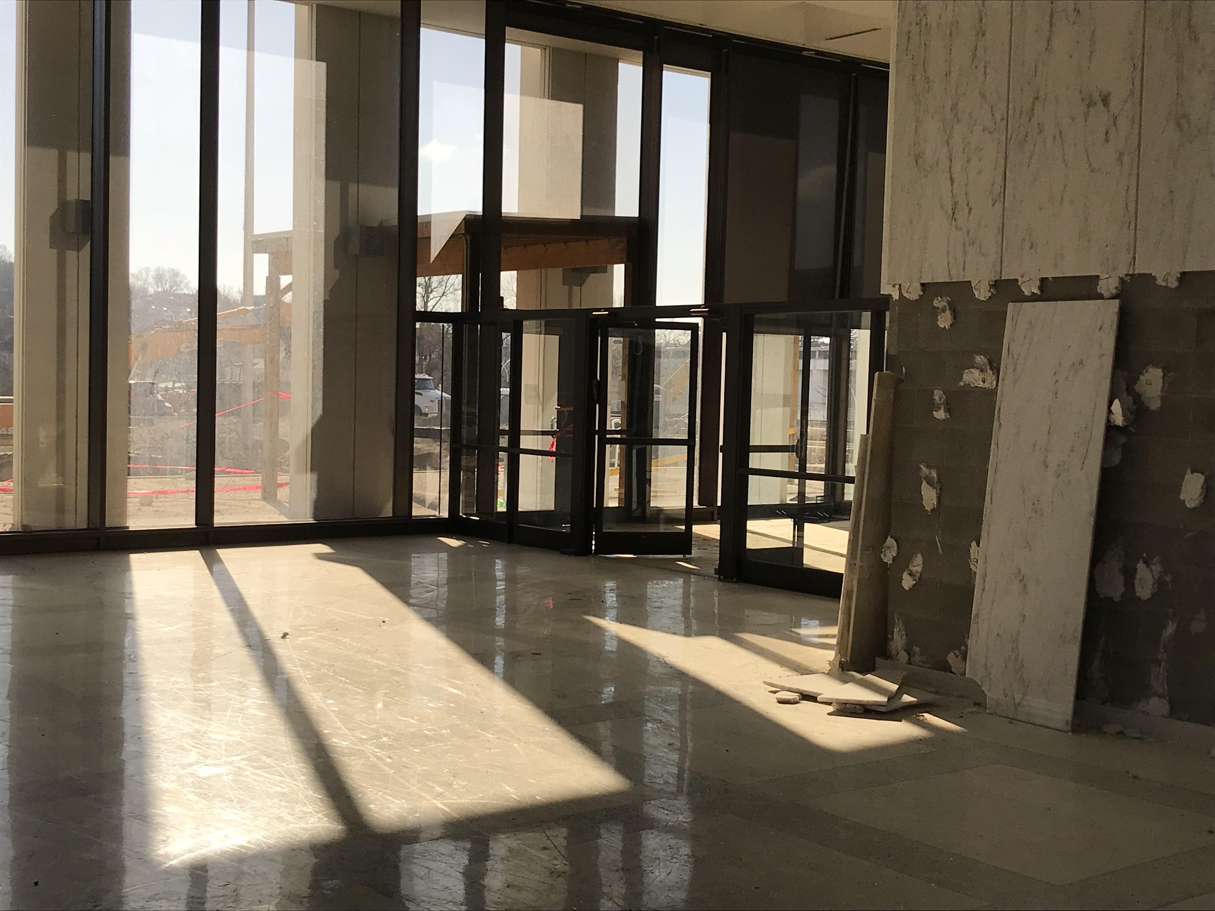 Sunlight in lobby.