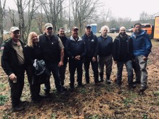 Some of the Division of Abandoned Mine Lands employees also braved the weather to help plant trees.