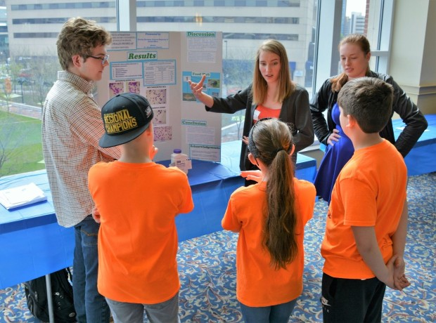 Mercer County Senior High School student explain their Kentucky Green and Healthy Schools water quality project to students from White_s Tower Elementary School.