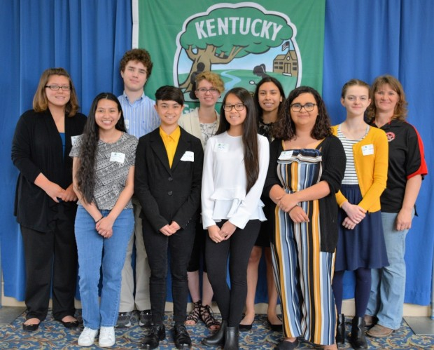 Students and faculty from duPont Manual High School who completed all 9 Kentucky Green and Healthy Schools categories to qualify as a model Green and Healthy School for the 2017-2018 aca