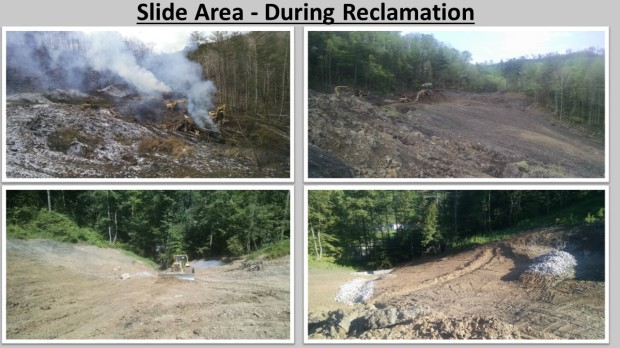Slide area during reclamation.