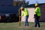 Louisville Paving and Construction staff participate in a mock line strike at the Kentucky Regional Fire Training Academy in Louisville, Ky.