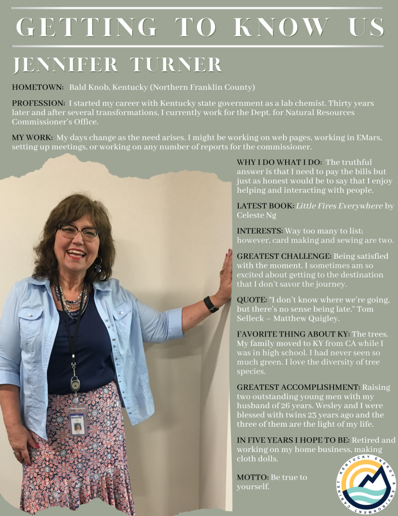 Meet Jennifer Turner. She started her career with Kentucky state government and now works for the Department for Natural Resources as a staff advisor.