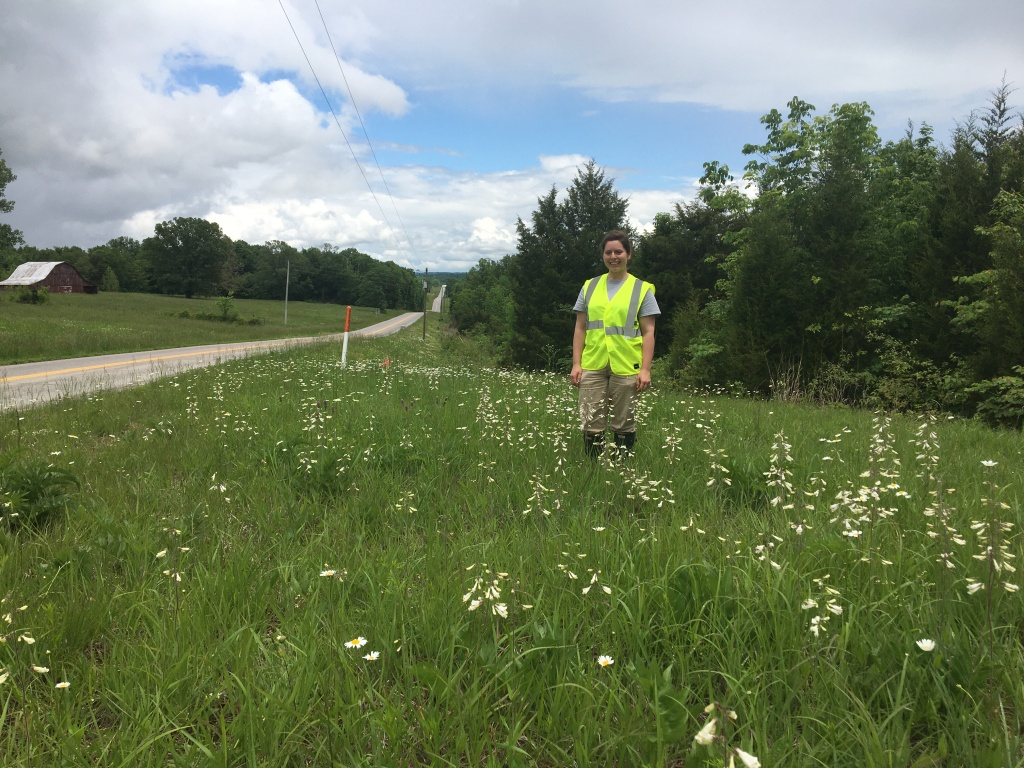 botanist stands on a pollinator plot in Logan County, Kentucky
